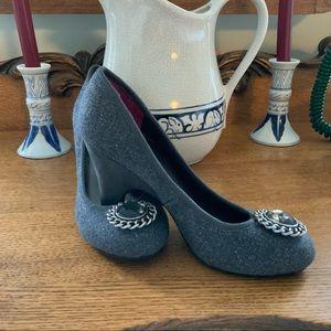 Lindsay Phillips Gray Felt W/ Sparkle Heels 6M